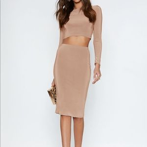 Piece Together Crop Top and Skirt Set